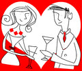 Couple on a date hand drawn meet drinking refreshments illustration of valentine card with big white heart white in the Stock Image