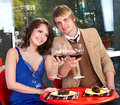 Couple on date in restaurant. Stock Photo