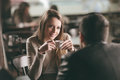 Couple dating at the bar Royalty Free Stock Photo