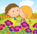 A couple dating at a garden in the hilltop illustration of Royalty Free Stock Photos