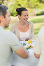 Couple dining at outdoor table Royalty Free Stock Photography