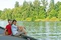 Couple dock horizontal Στοκ Εικόνες