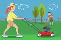 Couple doing yard work woman and man working in the with mower and rake Royalty Free Stock Photos