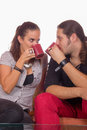 Couple drinking coffee in love Royalty Free Stock Photos