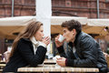 Couple Drinking Coffee Outdoor Restaurant Royalty Free Stock Photo