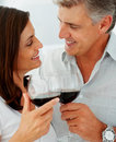 Couple drinking a glass of wine together Royalty Free Stock Image