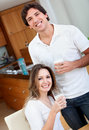 Couple drinking milk Stock Images