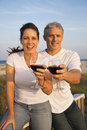 Couple Drinking Wine on Beach Stock Photography