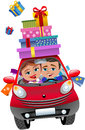 Couple driving car with gift boxes illustration featuring bob and meg in red small cartoon lots of shopping bags and shopping Stock Photo