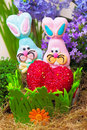Couple of easter candy bunnies with red heart in nest Stock Image