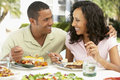 Couple Eating An Al Fresco Meal Stock Photos