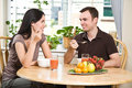 Couple eating breakfast Stock Image