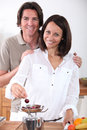 Couple eating cherries Royalty Free Stock Photography