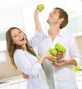 Couple Eating fresh fruits Royalty Free Stock Photo