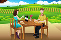 Couple eating lunch picnic at a winery vector illustration of Stock Photography