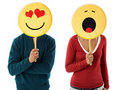 Couple with emoticon Royalty Free Stock Images