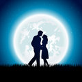 Couple enamored with moon on the night sky background illustration Royalty Free Stock Image