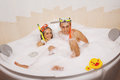Couple is enjoying a bath young beautiful in mask with snorkel Royalty Free Stock Images