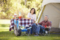 Couple enjoying camping holiday in countryside smiling to camera Stock Image
