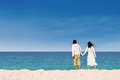 Couple enjoying honeymoon at the beach in australia Stock Photo