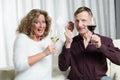 Couple is enjoying lottery win Stock Photography