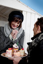 Couple Enjoying Pastry Outdoors Stock Photos
