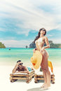 Couple enjoying their summer holidays portrait of happy beautiful on a tropical beach Stock Photography