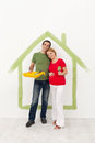 Couple expecting a baby redecorating their home Royalty Free Stock Photos