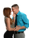 Couple expressing affection young isolated over white background Stock Photos