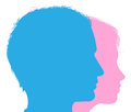 Couple faces silhouettes in profile conceptual illustration of a man and woman Stock Photos