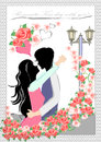 Couple of fantasy love vector background eps illustration Royalty Free Stock Photo