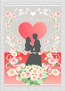 Couple of fantasy love vector background eps illustration Stock Photography