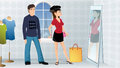 Couple fashion store cartoon illustration of a Royalty Free Stock Photos