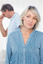 Couple feeling distant after argument at home Royalty Free Stock Images