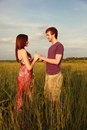 Couple in Field Royalty Free Stock Photo