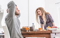 Couple fighting in the morning women screaming to her man relationship problems Royalty Free Stock Photos