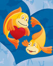 Couple of fishes cartoon Stock Photo