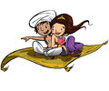Couple on a flying carpet traveling Stock Image