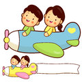 Couple flying a plane. Home and Family Character Design Series. Royalty Free Stock Photo