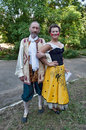 Couple in folk suits сouple painter and pierro Royalty Free Stock Photos