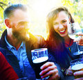 Couple Friends Drinking Hanging Outdoors Concept Royalty Free Stock Photo