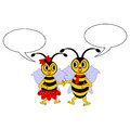 A couple of funny cartoon bees with chatting bubbles vector art illustration on white background Stock Image
