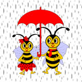 A couple of funny cartoon bees under red umbrella in the rain vector art illustration Stock Images