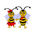A couple of funny cartoon bees vector art illustration on white background Stock Image