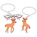 A couple of funny cartoon deer with chatting bubbl bubbles vector art illustration on white background Stock Photography