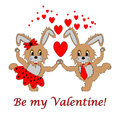 A couple of funny cartoon rabbits with text be my valentine boy and girl in love valentines day postcard vector art Royalty Free Stock Images