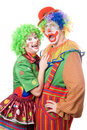 Couple of funny clowns. Isolated Stock Photo