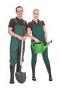 Couple of garden worker happy workers isolated over a white background Stock Photo