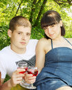 Couple with glasses of wine Royalty Free Stock Photography