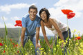 Couple with hand on knee in poppy field portrait of young multiethnic Royalty Free Stock Image